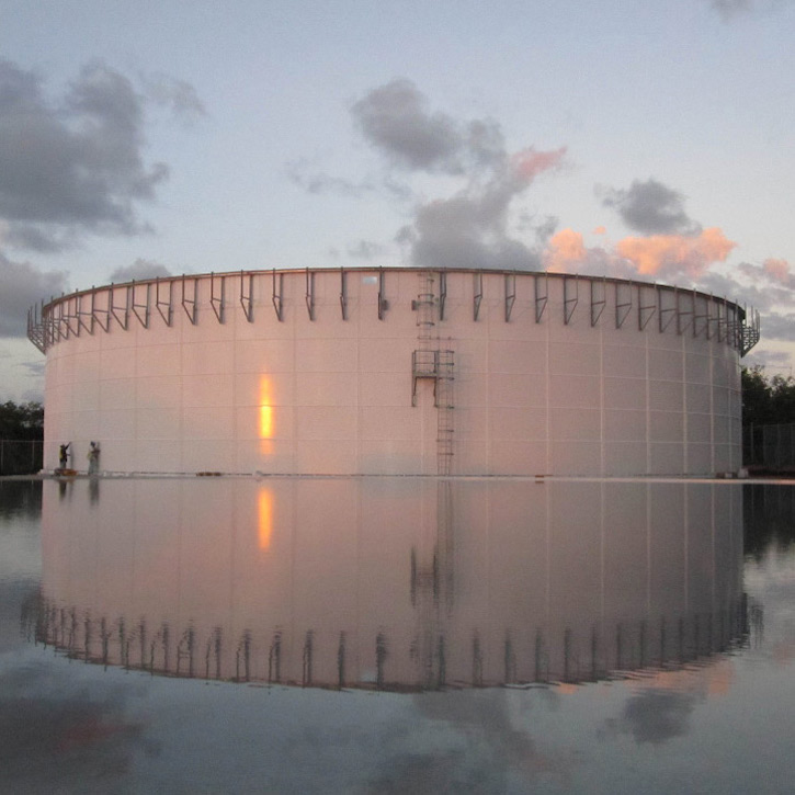one white wastewater storage tank