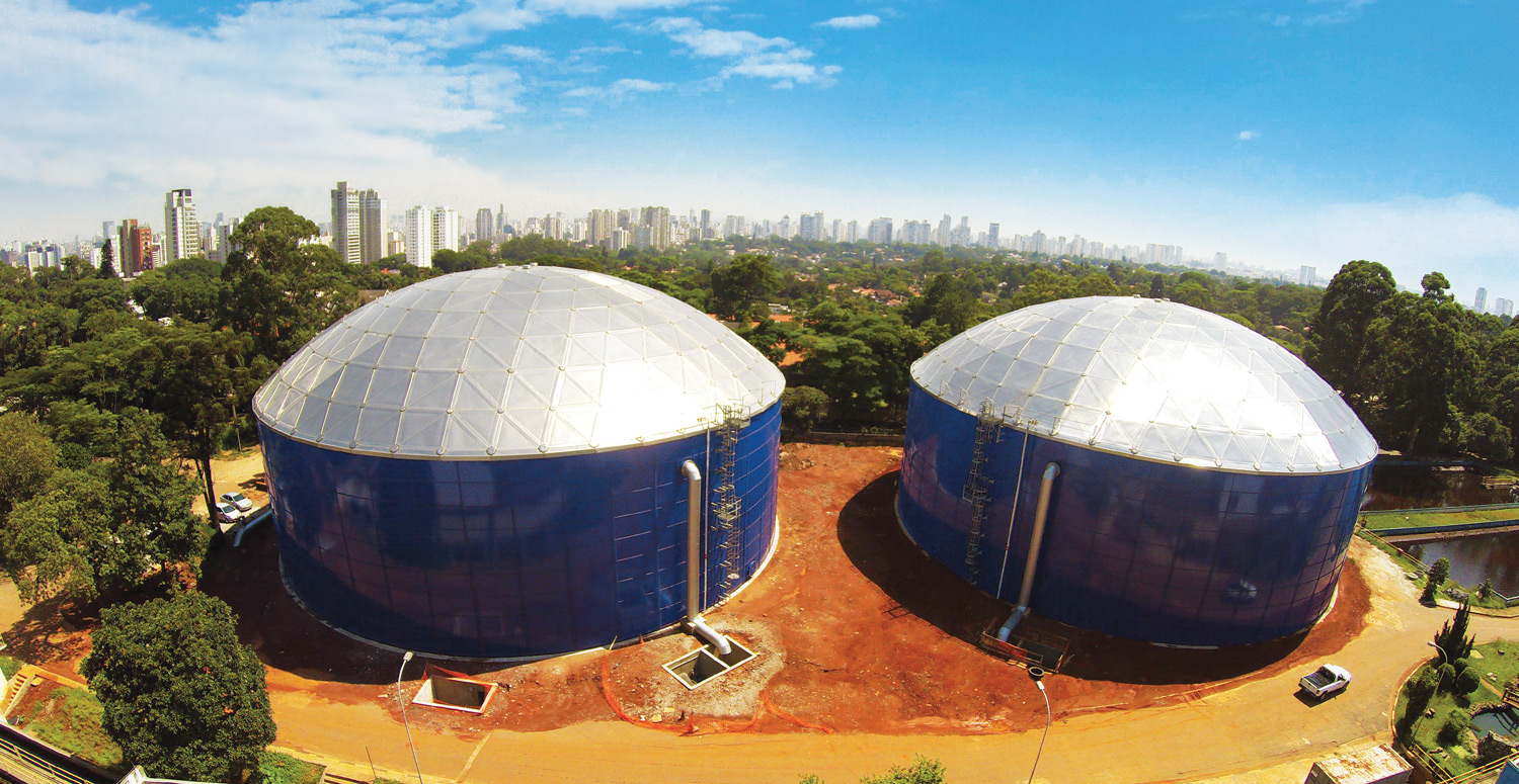 blue water storage tanks with aluminum domes