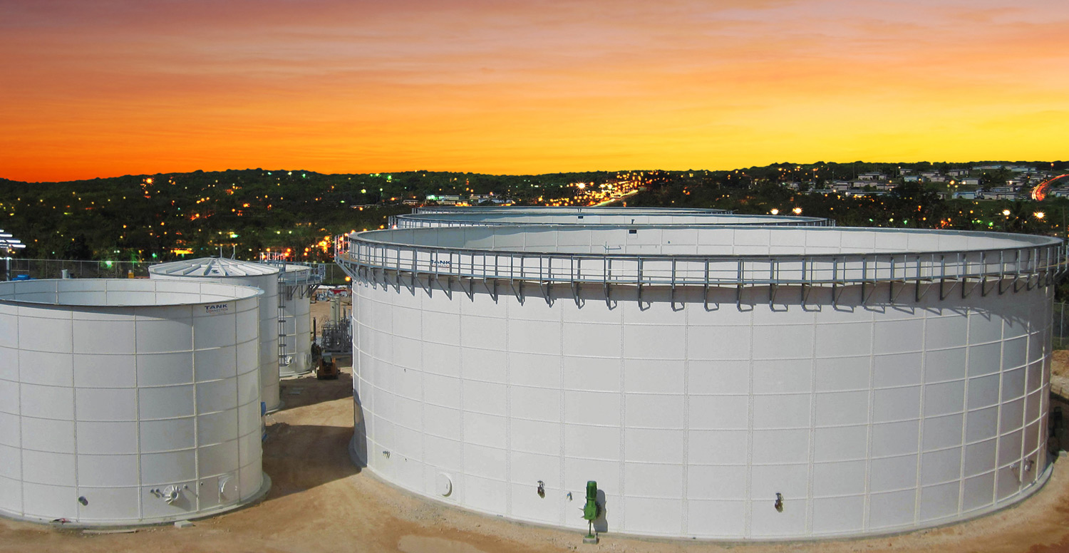 white bolted wastewater storage tanks